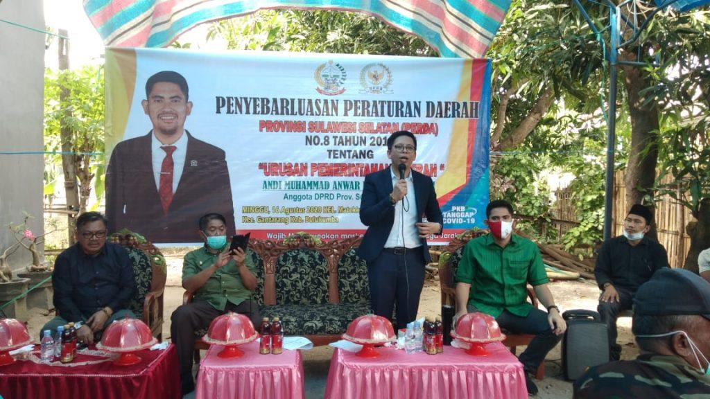 Anggota Legislator PKB DPRD SulSel Andi Muhammad Anwar Purnomo, SH, MH melaksanakan sosialisasi dan penyebarluasan Perda Sulawesi Selatan Nomor 8 Tahun 2016 tentang Urusan Pemerintahan Daerah